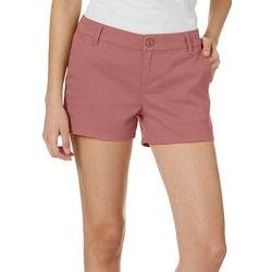 Juniors Solid Twill Shorts