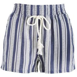 Juniors Stripes & Ties Elastic Waist Shorts
