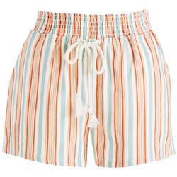 Juniors Stripes & Elastic Waist Shorts