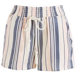 Juniors Vertical Striped Elastic Waist Shorts