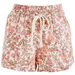 Juniors Floral Print Elastic Tie Waist Shorts
