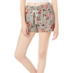 Be Bop Juniors Striped Floral Twill Shorts