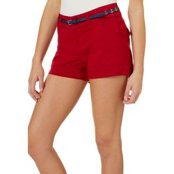 Be Bop Juniors Solid Anchor Belted Shorts