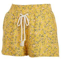Juniors Floral Elastic Waist Linen Shorts