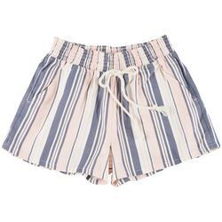 Be Bop Juniors Thick Stripe Elastic High Waist Shorts