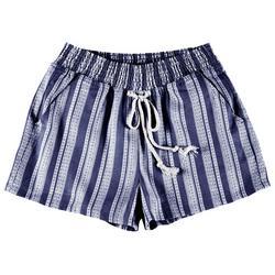 Juniors Striped Elastic High Waist Shorts