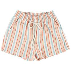 Juniors Striped High Waist Tie Shorts