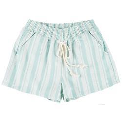 Juniors Geometric Striped High Waist Shorts