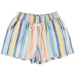 Juniors Multicolored Striped High Waist Shorts