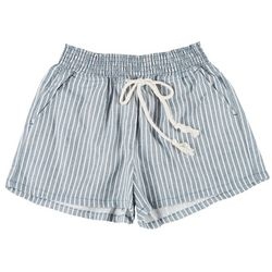 Be Bop Juniors Thin Striped Elastic High Waist Shorts