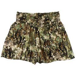 Be Bop Juniors Smocked Rayon Floral Camo Print Shorts