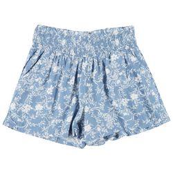 Be Bop Juniors Smocked Rayon Floral Print Shorts