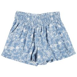 Juniors Smocked Rayon Floral Print Shorts