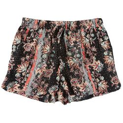 Be Bop Juniors Dotted Floral Elastic Tie Waist Shorts