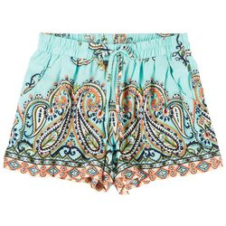 Be Bop Juniors Paisley Elastic Tie Waist Shorts