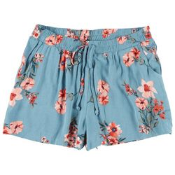 Be Bop Juniors Tropical Floral Elastic Tie Waist Shorts