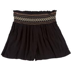 Be Bop Juniors Smocked Rayon Solid Shorts