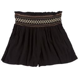 Juniors Smocked Rayon Solid Shorts