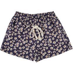 Juniors Floral Elastic Tie Waist Shorts