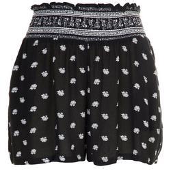 Juniors Smocked Waist Bicolor Shorts