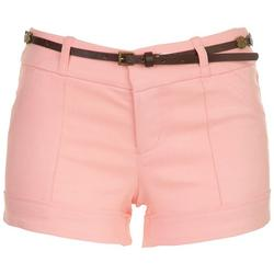 Juniors Belted Twill Shorts