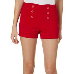 Be Bop Juniors Solid Button Front Pull On Shorts