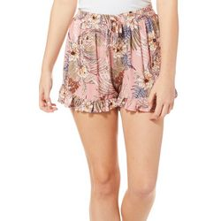 Be Bop Juniors Tropical Floral Print Ruffled Soft Shorts