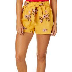 Be Bop Juniors Floral Paperbag Waist Linen Shorts