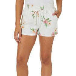 Be Bop Juniors Hibiscus Drawstring Pull On Linen Shorts