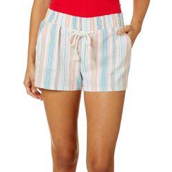 Be Bop Juniors Multi Stripe Drawstring Pull On Linen Shorts