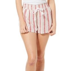 Be Bop Juniors Stripe Drawstring Pull On Linen Shorts
