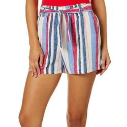 Be Bop Juniors Striped Paperbag Waist Shorts