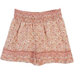 Be Bop Juniors Smocked Waist Floral Print Shorts