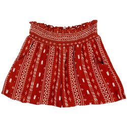 Be Bop Juniors Smocked Rayon Geometric Print Shorts