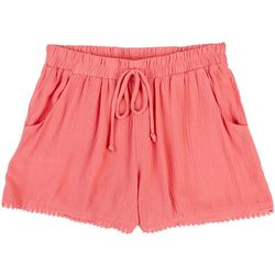 Juniors Solid Challis Pom Pom Trim Shorts