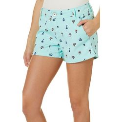 Juniors Anika Palm Tree Print Shorts