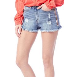 Unionbay Juniors Roxie Athletic Striped Denim Shorts