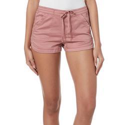 Juniors Maribeth Solid Drawstring Pull On Shorts