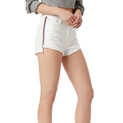 Unionbay Juniors Roxie Distressed Side Stripe Denim Shorts
