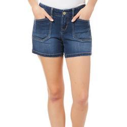 Juniors Mid-Rise Solid Denim Shorts