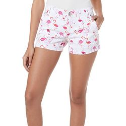 Juniors Anika All Over Flamingo Print Shorts