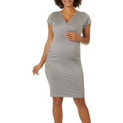 Times Two Womens Maternity Solid Short Sleeve Dress