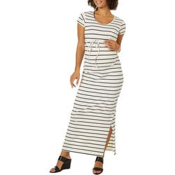 Times Two Womens Maternity Stripe Maxi Dress
