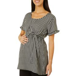 Times Two Womens Maternity Gingham Print Top