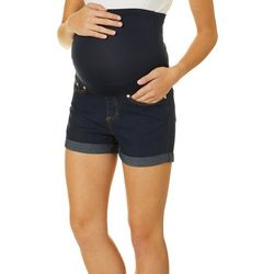 Times Two Womens Roll Cuff Maternity Denim Shorts