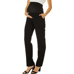 Times Two Womens Maternity Solid Straight Leg Pull On Pants