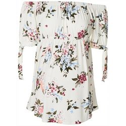 Derek Heart Womens Maternity Floral Off The Shoulder Top