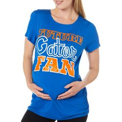 Como Blu Womens Maternity Future Gator Fan Ruched Top