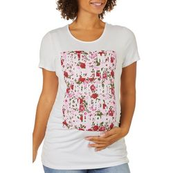 Como Blu Womens Maternity Does My Belly Look Big Ruched Top
