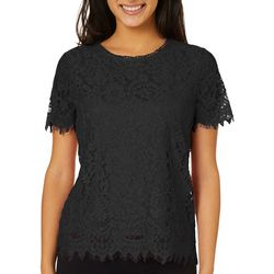 Juniors Solid Lace Short Sleeve Top